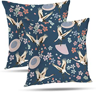Batmerry Spring Pillows Decorative Throw Pillow Covers 18x18 Inch Set of 2, Oriental Japanese Pattern Ornaments with Traditional Motives Kimono Double Sided Square Pillow Cases Sofa Cushion
