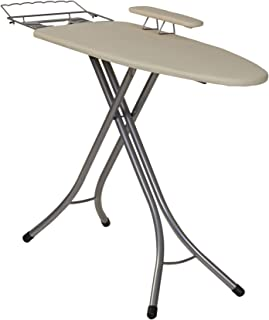 Household Essentials 971840-1 Wide Top 4-Leg Mega Ironing Board with Adjustable Height and Bonus Sleeve Board   Natural Cotton Cover