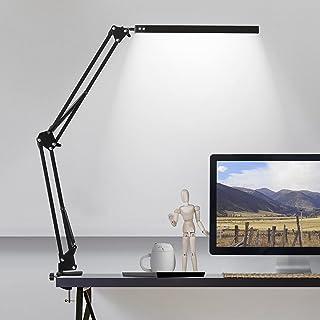 چراغ میز کار با گیره ، 3 حالت رنگی معماری چراغ میز مدرن چراغ دستی ، چراغ میز قابل تنظیم برای مراقبت از چشم ، عملکرد حافظه ، وظیفه ، مطالعه ، خواندن ، کار ، کار ، خیاطی ، پیش نویس ، دفتر کار 10W