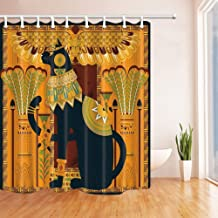 Rrfwq Egyptian Decor Elegant Cat Coloring Page Design in Egypt Style Shower Curtain Polyester Fabric Decorations 70.8 X 70.8 inches