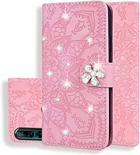 For Huawei Y9 Prime (2019) Calf Pattern Diamond Mandala Double Folding Design Embossed Leather Case with Wallet & Holder & Card Slots New (Brown) Hopezs (Color : Pink)