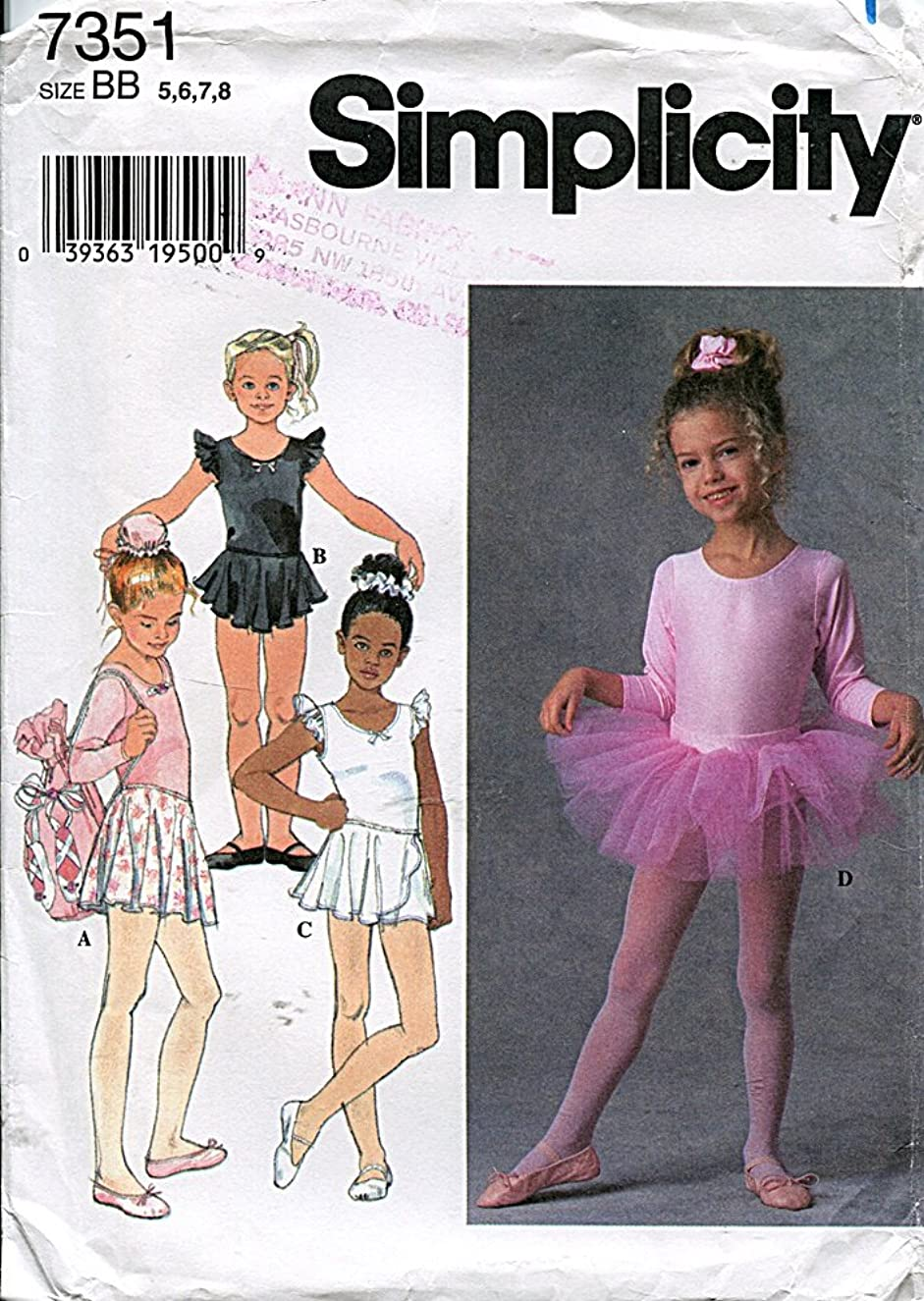 Simplicity Pattern 7351 Girls' Leotards, Skirts, Tutu, Bag and Hair Accessories, Size BB (5-6-7-8)
