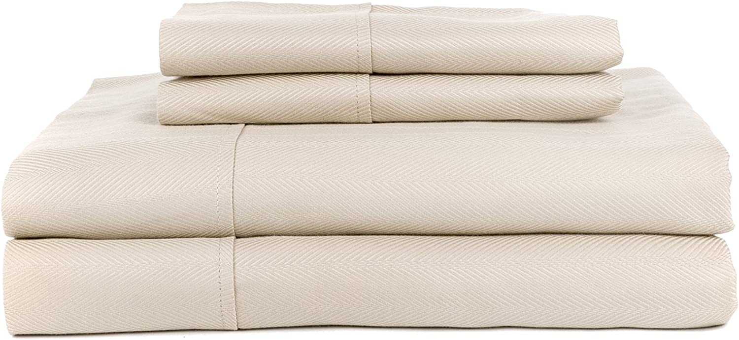 Perthshire Platinum Collection PPC-T640Q-PL-SAT-ASH-EG T640 Jacquard Herringbone Sheet Set with Solid Hem, Extra Soft, Breathable & Cool Sheets, Hypoallergenic, Queen, Ash (Pack of 4)