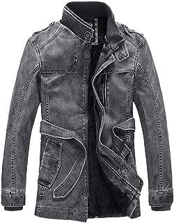 S&S Men Casual Slim Warm Plus Velvet Zip-Up Punk PU Leather Jacket Overcoat