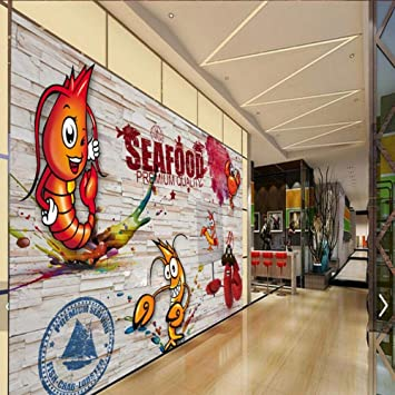 Afashiony Custom 3d Wall Mural Wallpaper Wooden Wall Hand Painted Spicy Crayfish Seafood Mural Restaurant Kitchen Decoration Wallpaper 144cmx100cm Amazon Com