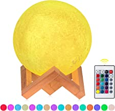 Moon Lamp Kids Nursery Night Light, 3D Printing 16 Color Change USB Recharge Touch Remote Control Desk Table Lamp for Home Party Decor