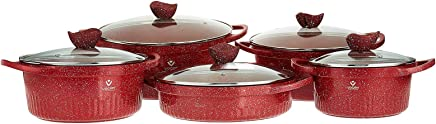 VOGATI Granite Ware healthy Cookware with shallow Casserole, non stick surface Set - 10 pieces,heat distribution system