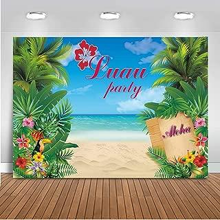 Mocsicka Hawaiian Luau Party Backdrop 7x5ft Tropical Beach Scene Summer Seaside Flora Photo Backdrops Hawaiian Aloha Paradise Theme Party Photography Background