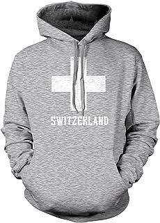 Amdesco Men's Switzerland Coat of Arms, Swiss White Cross Hooded Sweatshirt