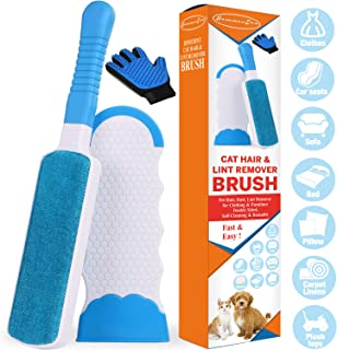 Lint Brush - Pet Hair Remover Brush for Furniture Dog & Cat Reusable Hair Remover Efficient Double Sided Animal Hair Removal Tool with Self-Cleaning Base Perfect for Clothing Couch