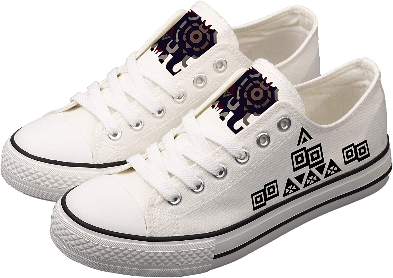 Antetok Monster Hunter Hand-Painted Canvas shoes Unisex Designs Casual Canvas shoes Cosplay Low Cut Sneakers