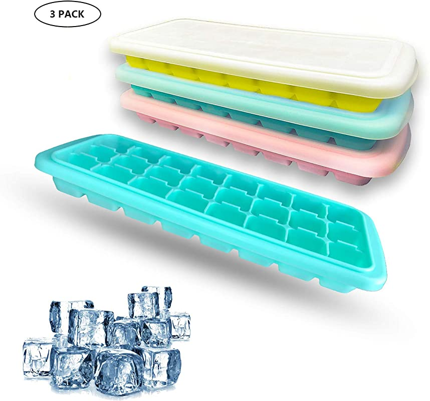 Ice Cube Trays With Lid Silicone Ice Cube Tray Spill Resistant Removable 24 Ice Tray Easy Release Cubes Stackable Ice Trays And Dishwasher Safe LFGB Certified And BPA Free 3 Packs Pink Yellow Green