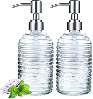 2 Pack Soap Dispenser 18 Ounce Tempered Glass Clear Hand Liquid Soap Bottle Refillable Lotion Dispensers with Rust Proof P...