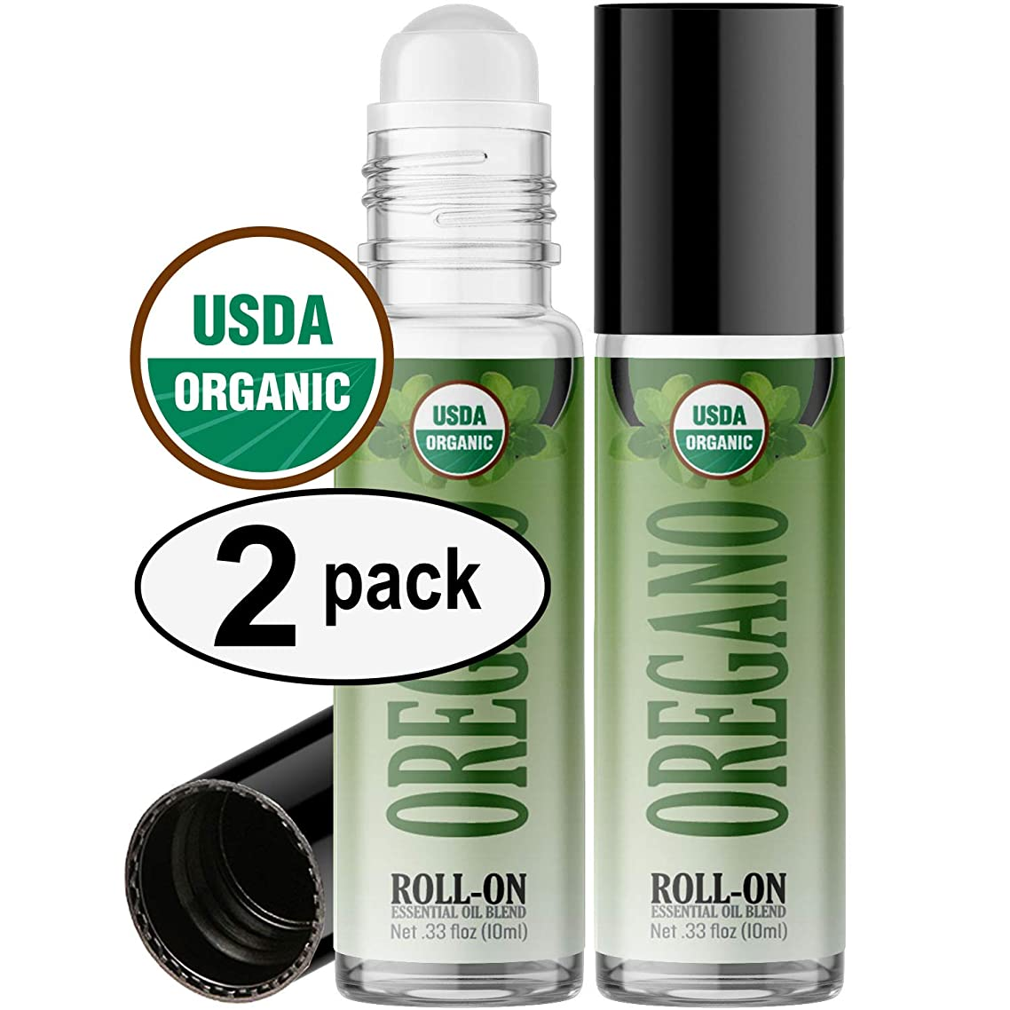 Organic Oregano Roll On Essential Oil Rollerball (2 Pack - USDA Certified Organic) Pre-diluted with Glass Roller Ball for Aromatherapy, Kids, Children, Adults Topical Skin Application - 10ml Bottle