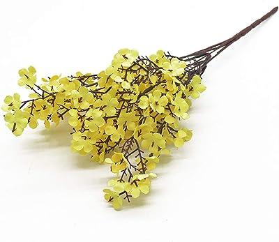 ZTTT Rosa Seda gypsophila Flores Artificiales pequeños racimos 5 Tenedores 30 cm Sala de Estar decoración Fake Plantas jarrón para la Boda en casa (Color : Yellow)