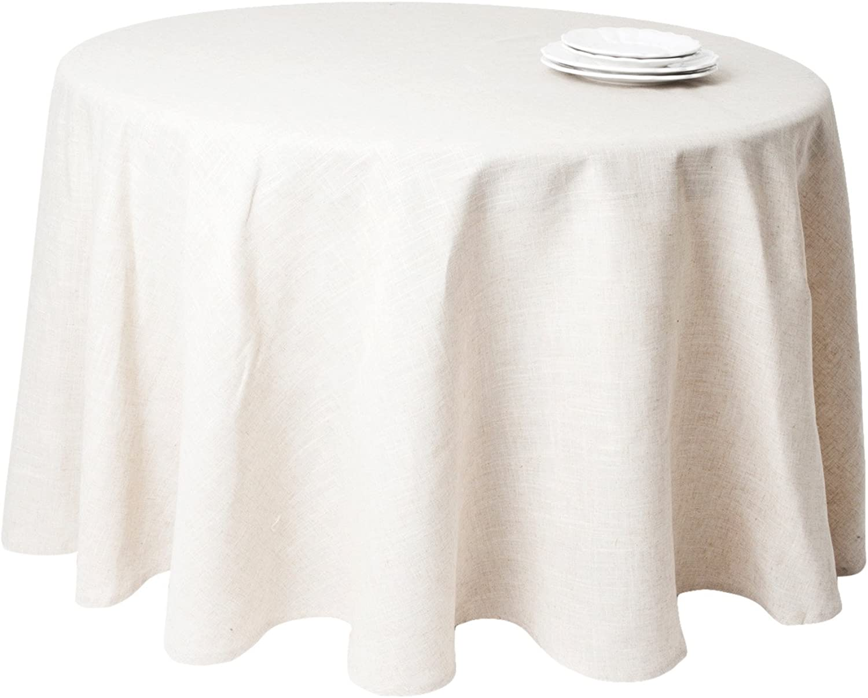 SARO LIFESTYLE 731 Toscana Tablecloths, 132-Inch, Round, Natural
