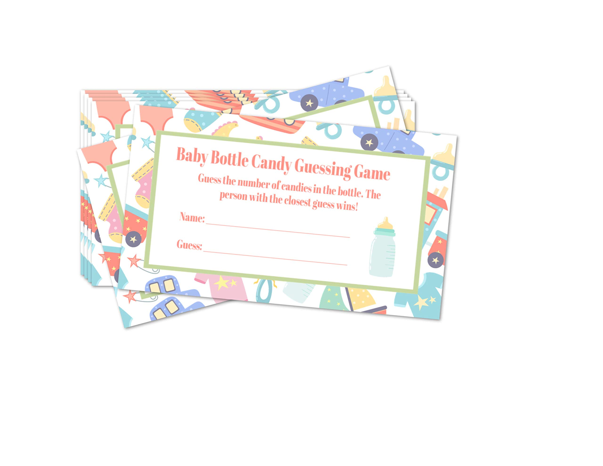 """Baby Shower Bottle Game Candy Guessing Game with 11"""" Baby Bottle Bank and 30 Cards (Cards Only)"""