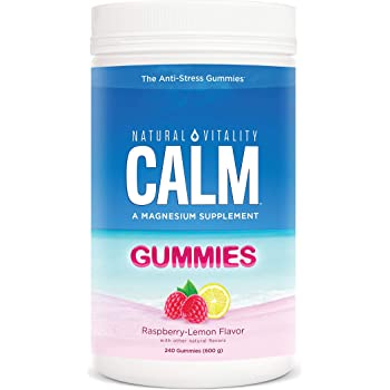 Natural Vitality Calm, Magnesium Citrate Supplement, Anti-Stress Gummies, Raspberry-Lemon 240 Gummies (Packaging May Vary)