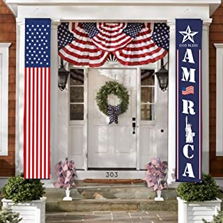 BHSTAR 4th of July Decor American Party Banner, Patriotic Decorations for Independence Day Labor Day Flag Day, Hanging Flags Bunting Banners for Fourth of July Party