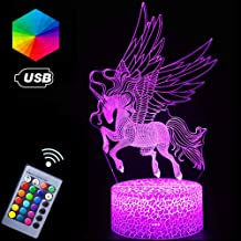 Unicorn Night Lights,3D Optical Illusion LED Lamps with Remote Control & RGB Colors Sleep Aid & Night Guidance Home Bedroom Decorations Bday Party,Christmas Gift Ideas for Girls Teen Mothers