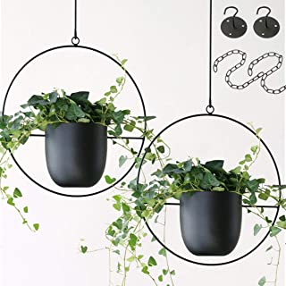 Abetree 2 Pcs Hanging Planters for Indoor and Outdoor Plants with Hooks and Chains Metal Modern Wall and Ceiling Planter M...