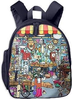 Mochilas Infantiles, Bolsa Mochila Niño Mochila Bebe Guarderia Mochila Escolar con Mercadillo Parisino de Dibujos Animados para Niños De 3 a 6 Años De Edad
