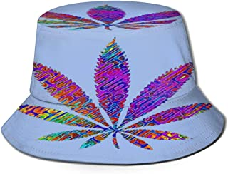 Fisherman Hat Colorful Vegan Weed Sun Hat Women Men Eye Protect Breathable Bonnie Cap 3D Printed Beach Hat Durable&Reversible for Summer Outdoor