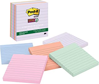 Post-it Super Sticky Recycled Notes, 4x4 in, 6 Pads, 2x the Sticking Power, Bali Collection, Pastel Colors (Lavender, Apri...