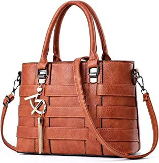 COAFIT Women's Handbag Pure Color Elegant Tote Bag Crossbody Purse (Earth Yellow)