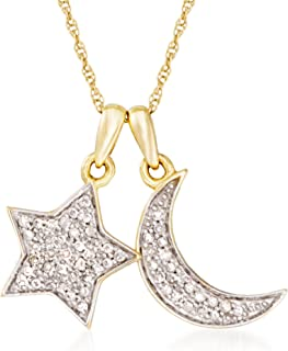 0.10 ct. t.w. Pave Diamond Star and Moon Charm Necklace in 14kt Yellow Gold