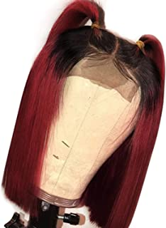 Short Human Hair Bob Wigs For Women Ombre 1B/27 Black Roots Remy Brazilian Lace Front Human Hair Wigs Plucked With Baby Hair JK,T1B/Burgundy,8inches,150%