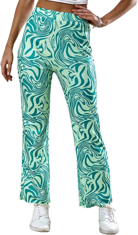 Linsery Women's Printed High Waist Flare Leg Y2K Pants Trousers