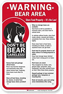 Aiami Kleis Caution Sign - Warning Bear Area Store Food Properly, It's The Law!.16 X 12 Inch for Notice Warning Parking Warkshop Street Traffic Danger Outdoor Sign