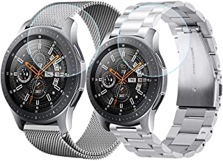 V-MORO Compatible Galaxy Watch 46mm Bands/Gear S3 Band,2 Pack Stainless Steel Metal + Mesh Loop Strap Replacement for Samsung Galaxy Watch 46mm R800/Gear S3 Classic/Frontier