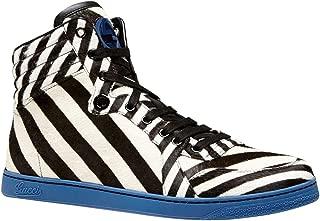 Gucci Men's Zebra Print Calf Hair/Leather High-top Sneaker 353412