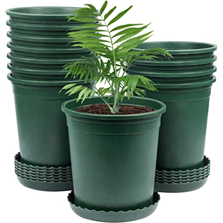 Details about  /Flower Pot Nursery Pots with Drainage Hole and Tray Pack o 1 Gallon Planters