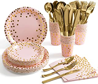 Best Pink and Gold Party Supplies – Disposable Dinnerware Set Serves 25 Gold Dots on Pink Paper Plates Cups and Napkins, Gold Plastic Knives Spoons Forks for Baby Shower Wedding Party Bridal Shower Reviews