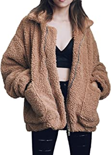 Women's Casual Warm Faux Shearling Coat Jacket Autumn Winter Long Sleeve Lapel Fluffy Fur Outwear