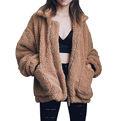 9ccd6ad2c39 Gzbinz Women s Casual Warm Faux Shearling Coat Jacket Autumn Winter Long  Sleeve Lapel Fluffy Fur Outwear