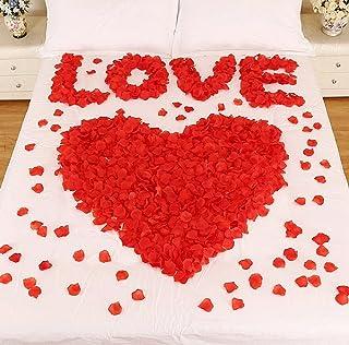 CHSYOO 1000 x Roses artificielles Feuilles Roses Fleurs confettis, Accessoires de décoration Romantique pour la fête d'ann...