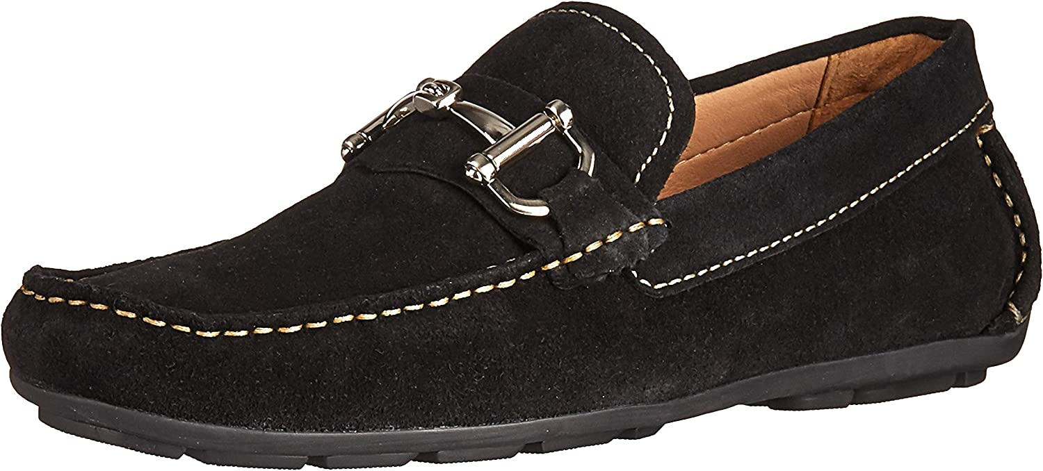 Driver Club USA Mens Genuine Leather Made in Brazil Park Ave Buckle Loafer, black grainy 10.5 M US