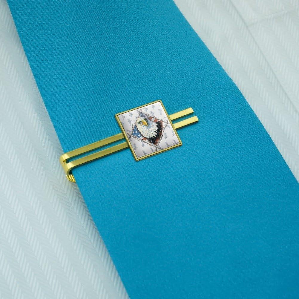 Graphics and More Patriotic Bald Eagle Diamond American USA Flag Square Tie Bar Clip Clasp Tack Gold Color