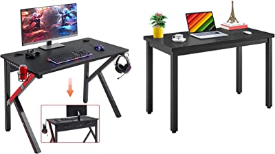 """Mr IRONSTONE Gaming Desk 45.2"""" W x 23.6"""" D Home Office Computer Desk & 47.2"""" Modern Simple Style Working Studying Desk Computer Desk"""