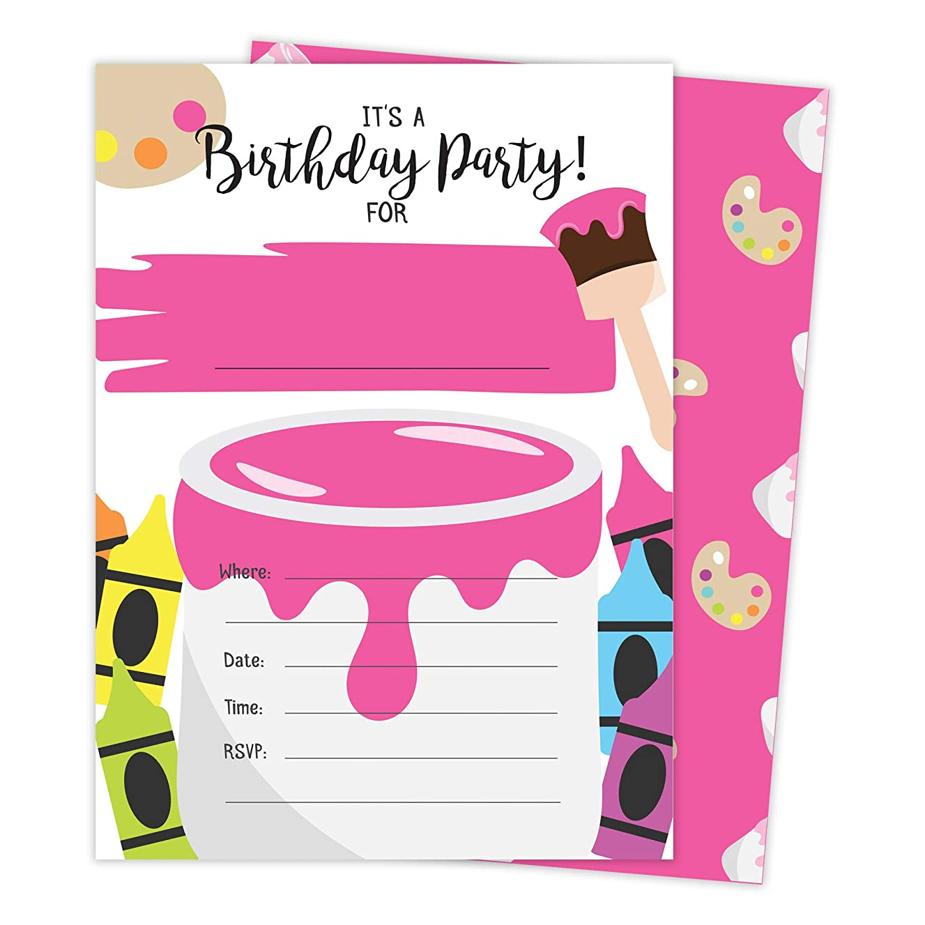 Girls Painting 3 Happy Birthday Invitations Invite Cards (25 Count) With Envelopes & Seal Stickers Vinyl Girls Kids Party (25ct)