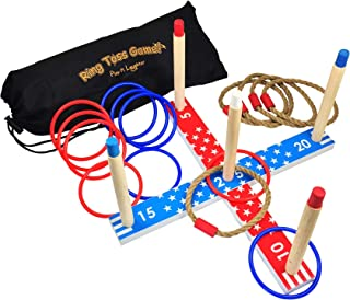 Play N Laughter Wooden Ring Toss Game Set - Fun Quoits Game for Children and Adults with Carrying Bag, Indoor & Outdoor