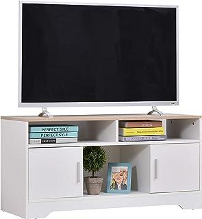 HOMCOM Armario para Televisor Mueble Auxiliar para TV con Gran Espacio de Almacenaje Estantes Abiertos Administración de C...