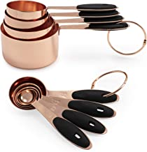 Cook with Color 8-Piece Copper Measuring Cups and Measuring Spoon Set Stainless Steel with Soft Touch Silicone Handles, Nesting Liquid Measuring Cup Set or Dry Measuring Cups Set (Black)