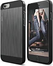iPhone 6S Case, elago [Outift Matrix][Black/Dark Grey] - [Premium Hybrid Construction][Brushed Aluminum][Spark Design Award] - for iPhone 6/6S