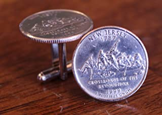 New Jersey Cuff Links, State Quarter Coin Cufflinks, The garden state gift, history gift, mens accessories, unique novelty for men
