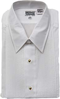 Mens Laydown Collar White Tuxedo Shirt with Gold Studs by